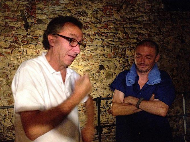 Stefano Cavallini e Andrea Monticelli del Teatro del Drago, dopo uno spettacolo al Teatrino del Sole di Piombino 24 luglio 2014